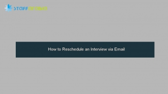 How to Reschedule an Interview via Email