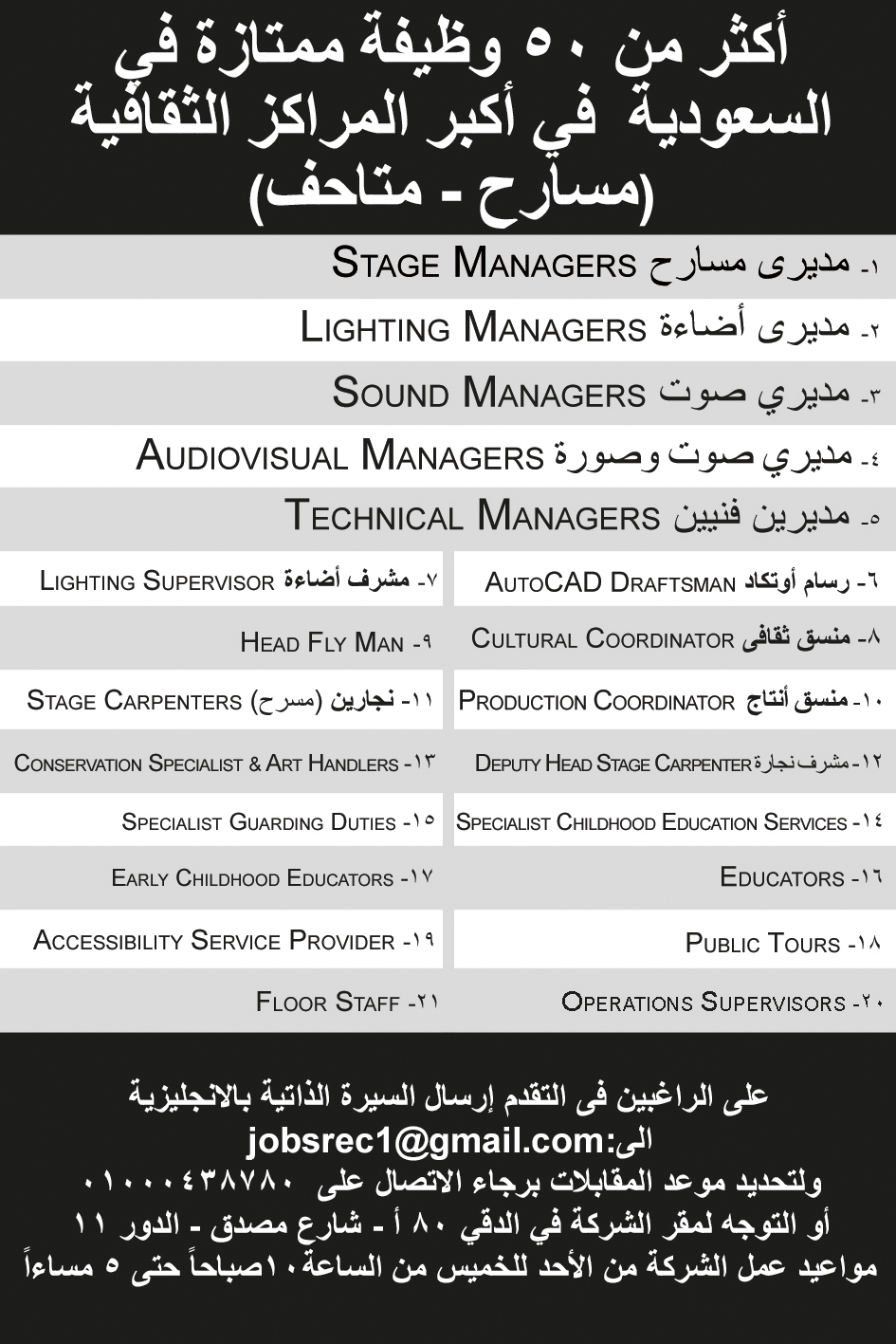 New campaign for 50 job vacancies at theaters and museums in Saudi